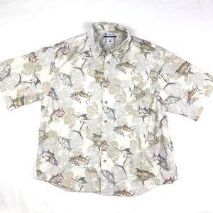 Columbia Button Up Fishing Tuna Marlin Shirt